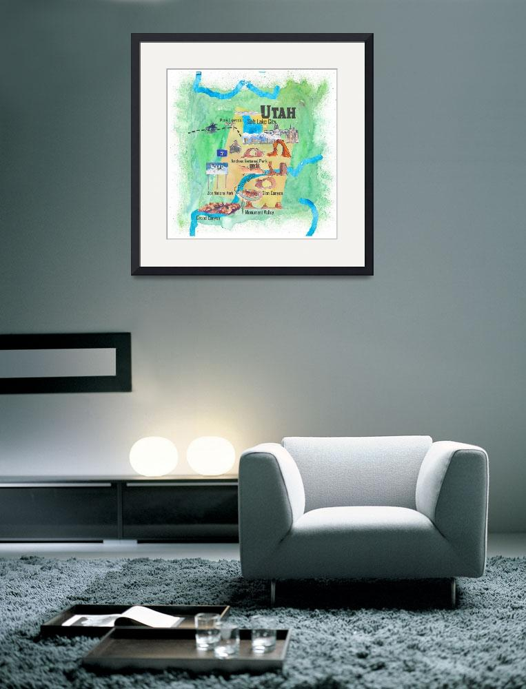 """""""USA Utah State Travel Poster Illustrated Art Map&quot  (2018) by arthop77"""