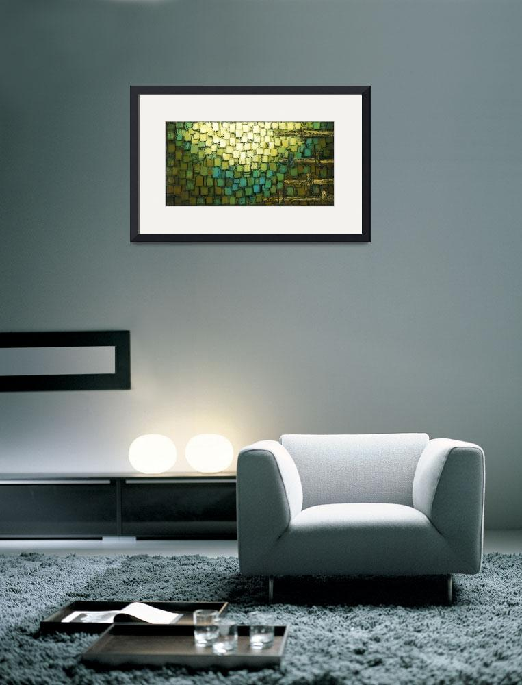 """Geometric Blue Brown Abstract&quot  (2009) by modernhouseart"
