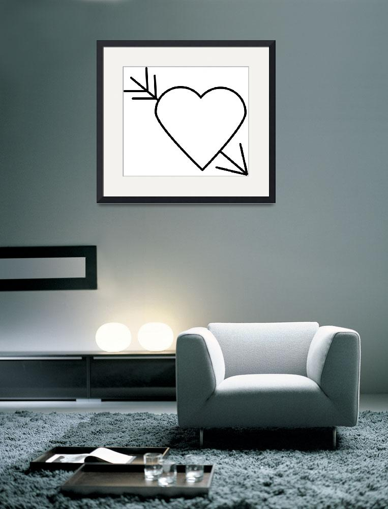 """""""Black Heart Outline with Arrow Through It&quot  (2015) by ValeriesGallery"""