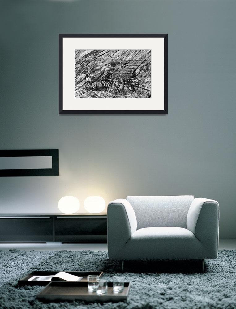 """""""Wagon on wood in black and white&quot  by memoriesoflove"""