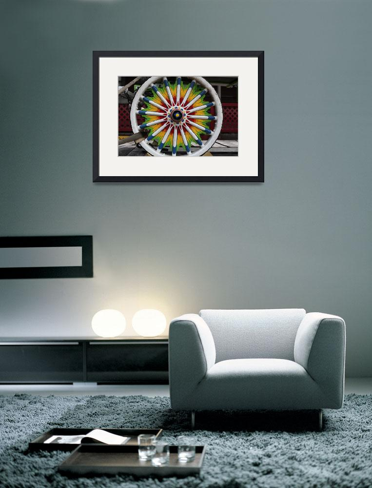 """""""Beautiful Hand-Painted Circus Carriage Wheel&quot  (2012) by MikeMBurkeDesigns"""
