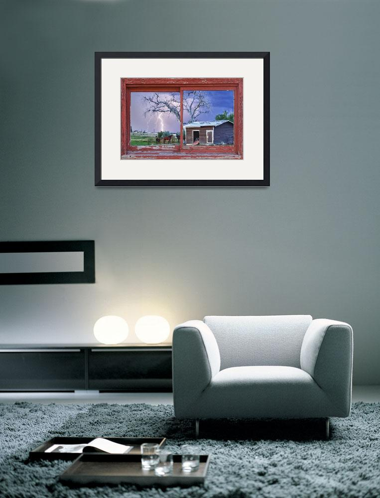 """Lightning and Horses Red Barn Picture Window Frame""  (2012) by lightningman"
