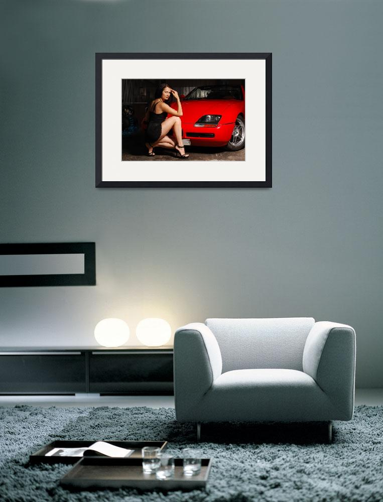 """""""Pretty woman near the red car&quot  (2011) by olegmit"""