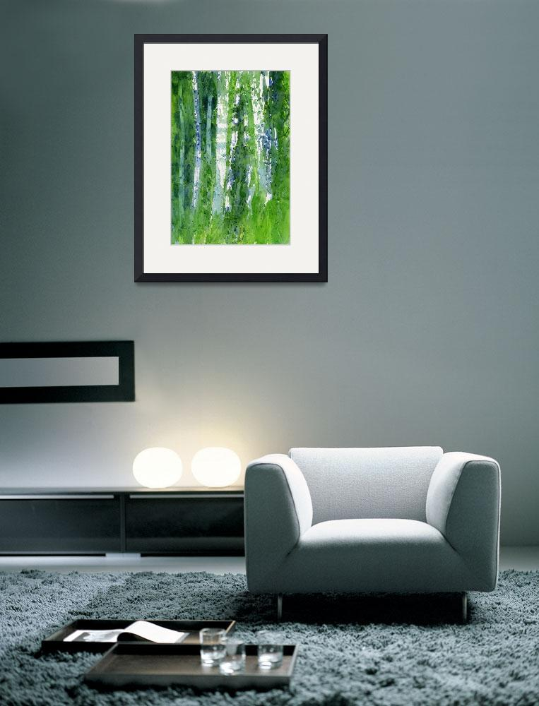 """""""Birch Trees Abstract Shapes&quot  (2015) by Pacific-NW-Watercolors"""