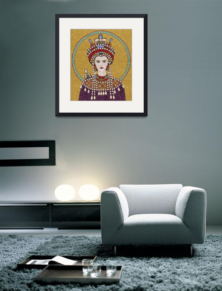 """""Empress Theodora""  fabric mosaic&quot  (2012) by RemnantWorks"