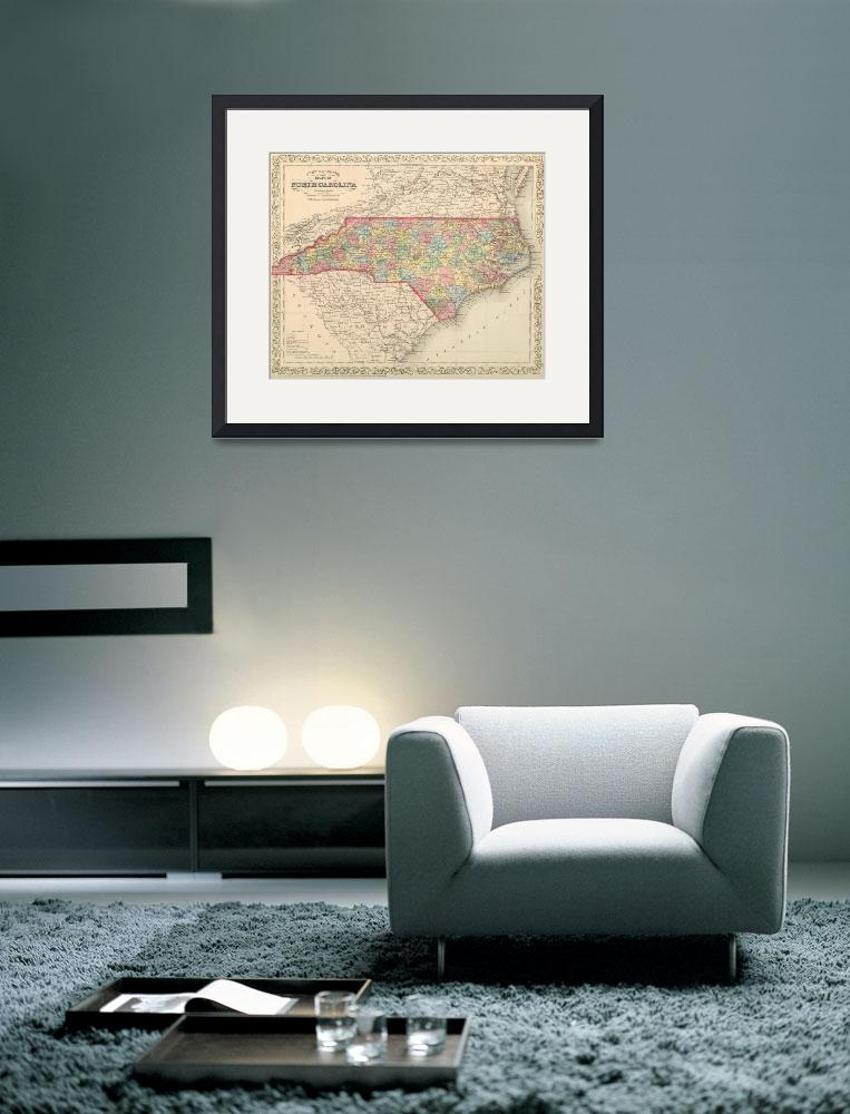 """""""Vintage Map of North Carolina (1859)&quot  by Alleycatshirts"""