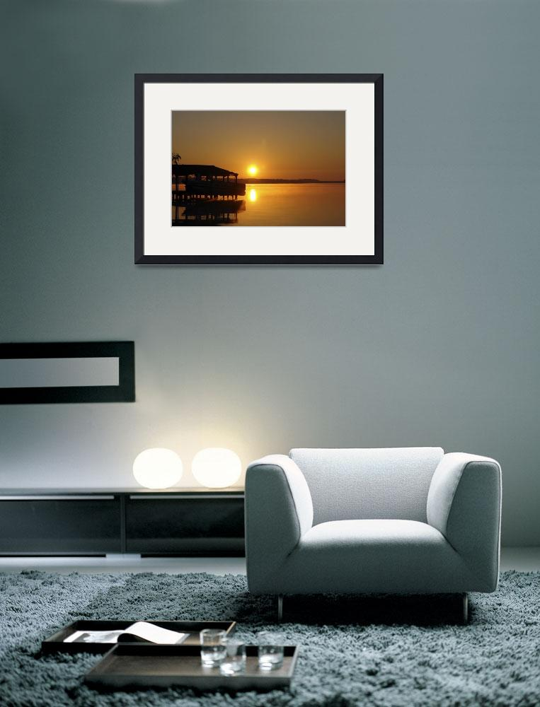 """""""Sunrise Reflection on Boat House&quot  (2010) by barbee"""