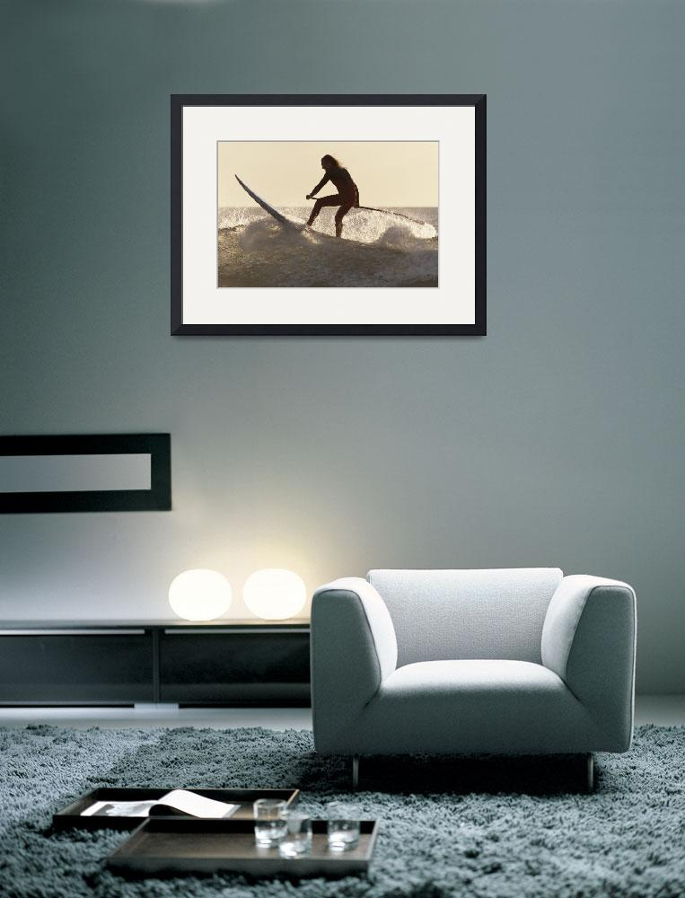 """Surfer Paddling On A Surfboard Off Benavides Beach&quot  by DesignPics"