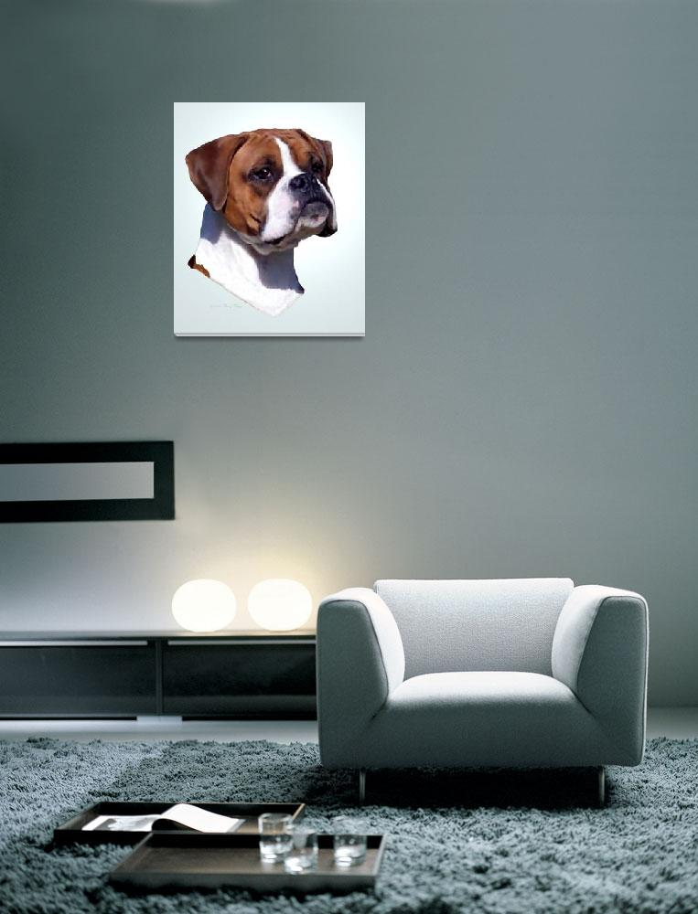 """""""DAZZLE, Boxer dog with natural ears""""  by swargo"""