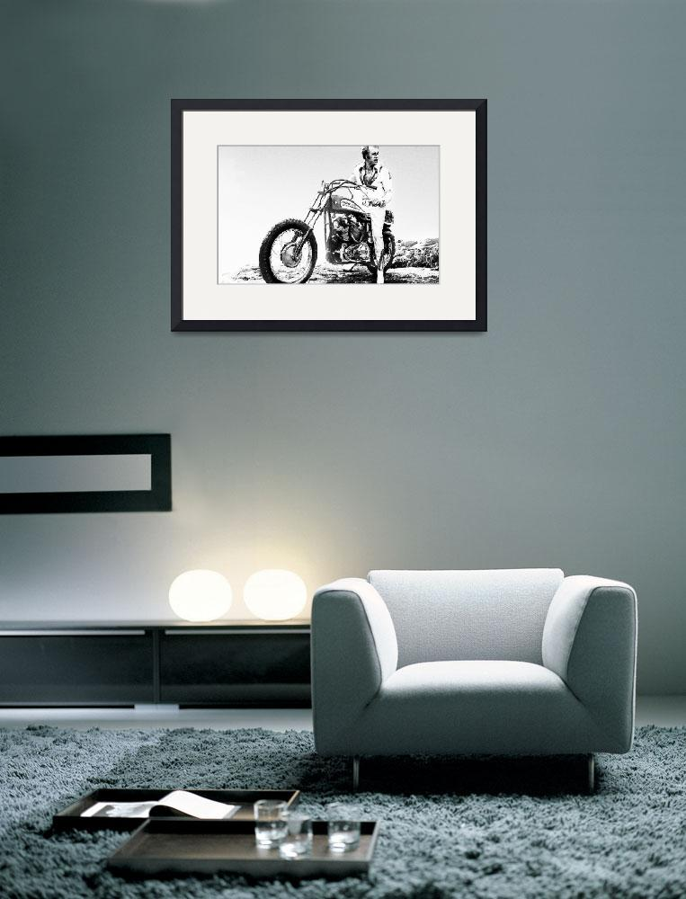 """Evel Knievel Painting Black And White&quot  by RubinoFineArt"