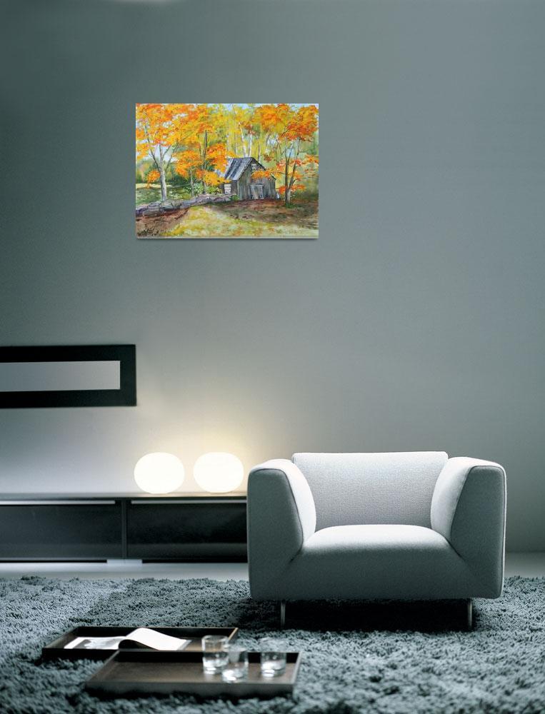 """Autumn Barn&quot  by BarbaraBusenbark"