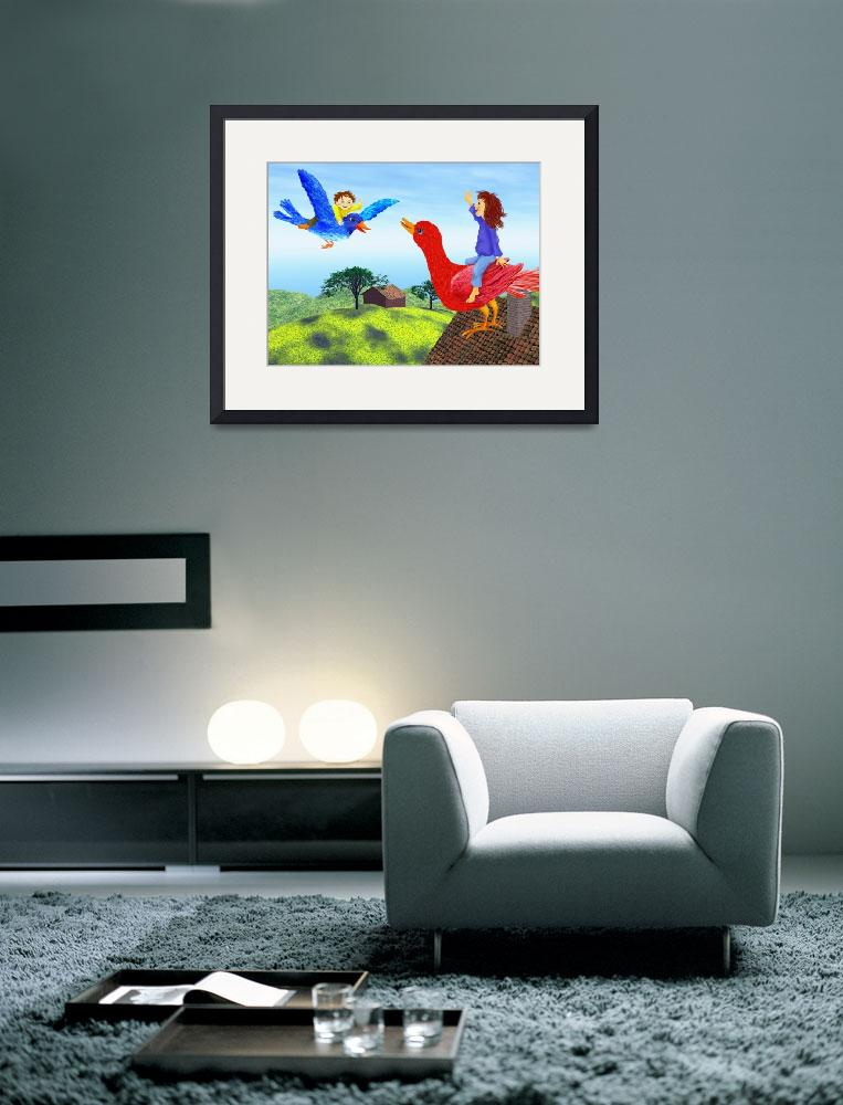 """""""green,blue,childrens room,nursery decor,canvas art&quot  (2010) by MarianneIlevitzky"""