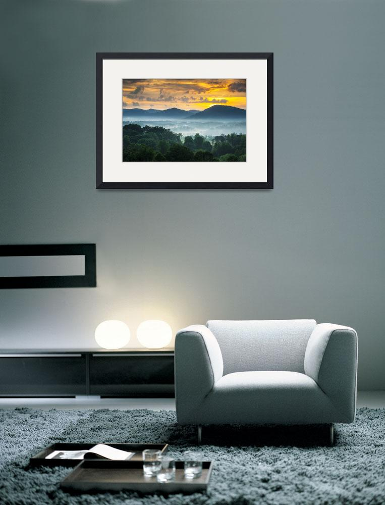 """""""Asheville NC Blue Ridge Mountains Sunset - Welcome&quot  (2012) by DAPhoto"""