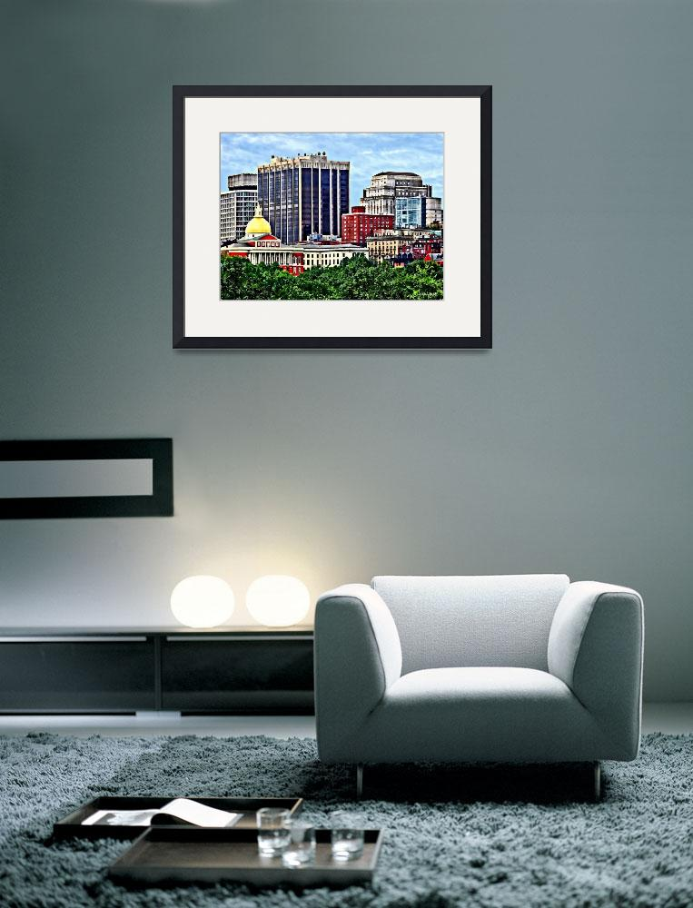 """Boston MA - Skyline with Massachusetts State House&quot  by susansartgallery"
