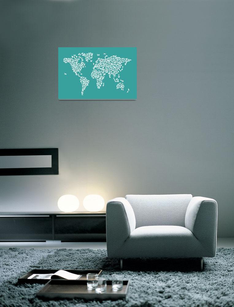 """Cats Map of the World Map&quot  (2017) by ModernArtPrints"