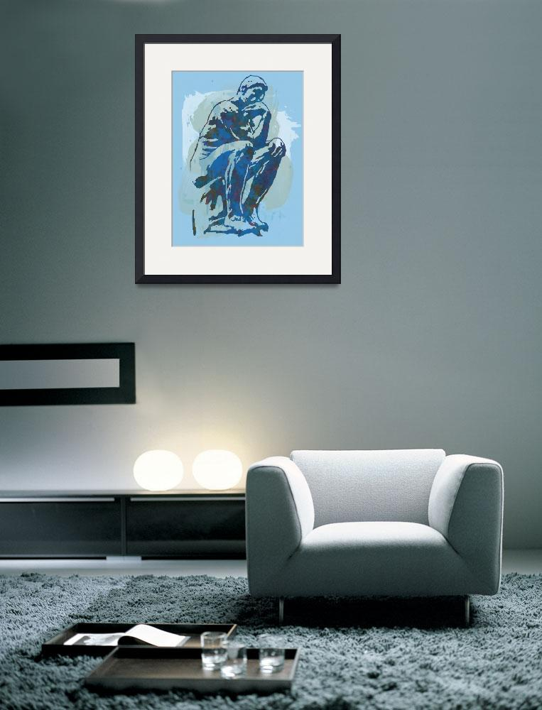"""""""The Thinker - Rodin Stylized Pop Art Poster""""  (2014) by visualharbour"""