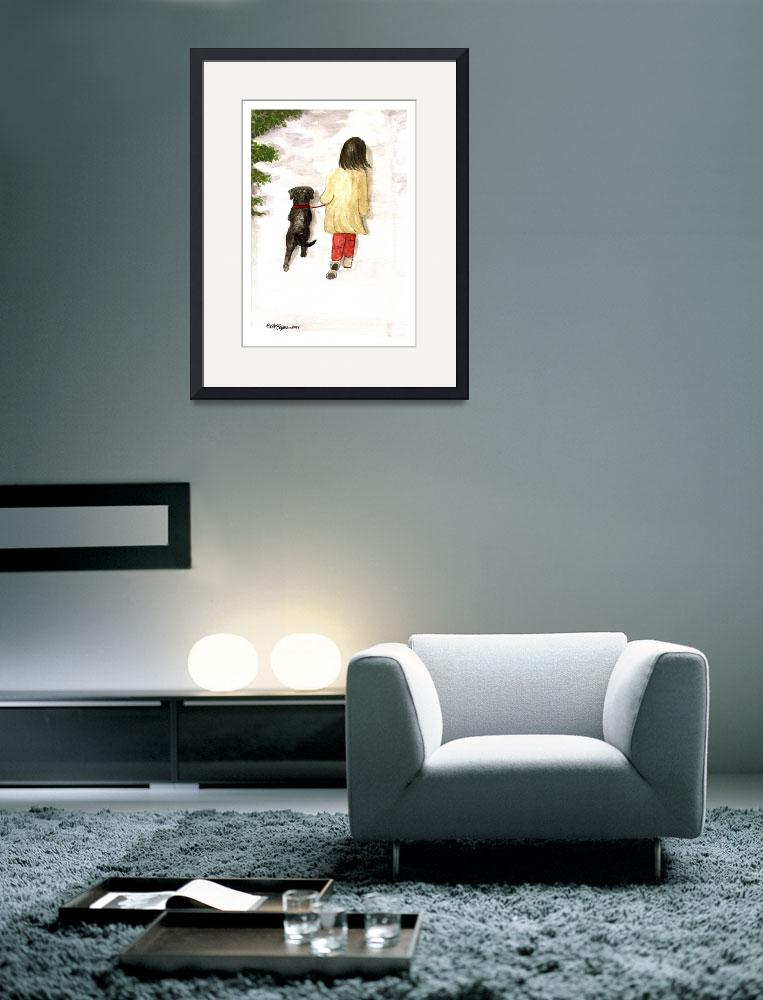 """""""Together - Black Labrador and woman painting&quot  (2004) by DogsandFlowers"""