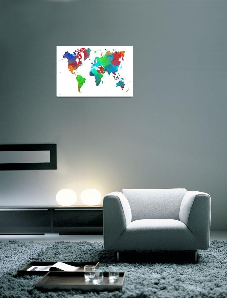 """""""World Map&quot  by MarleneWatson"""