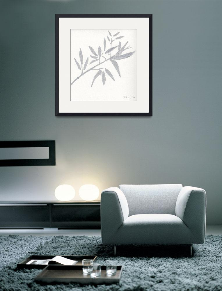 """""""Zen Sumi Botanical 4a Ink on Watercolor Paper by R""""  (2011) by Ricardos"""