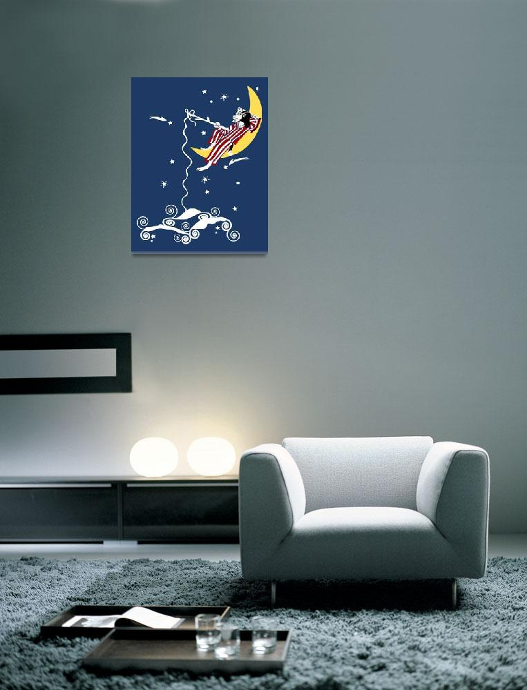 """Dog Fishing from the Moon""  (2008) by kristensteinfineart"