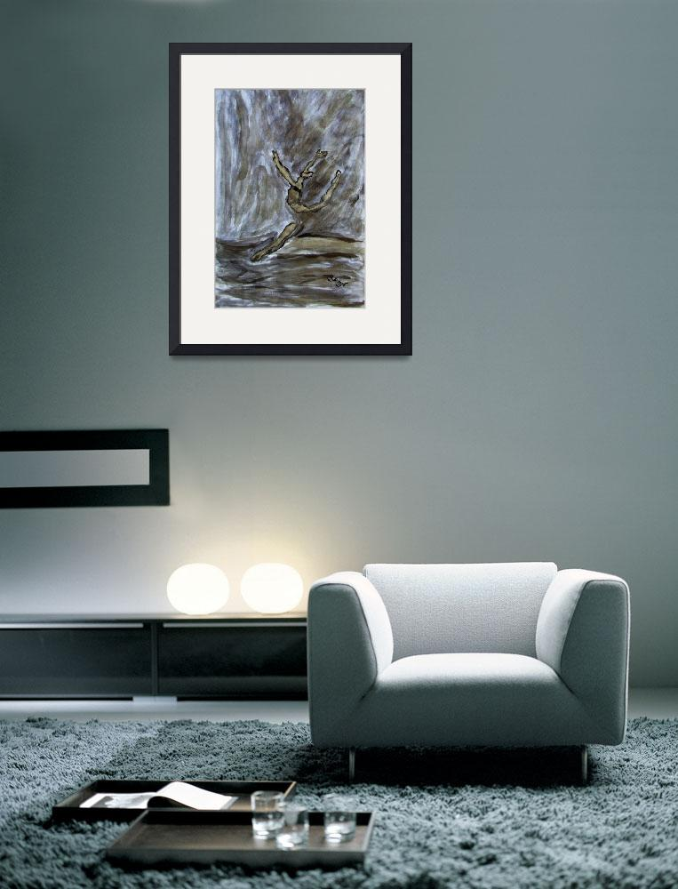 """""""Black Gold Young Female Ballet Dancer Strong Pose&quot  (2012) by ExclusiveCanvasArt"""