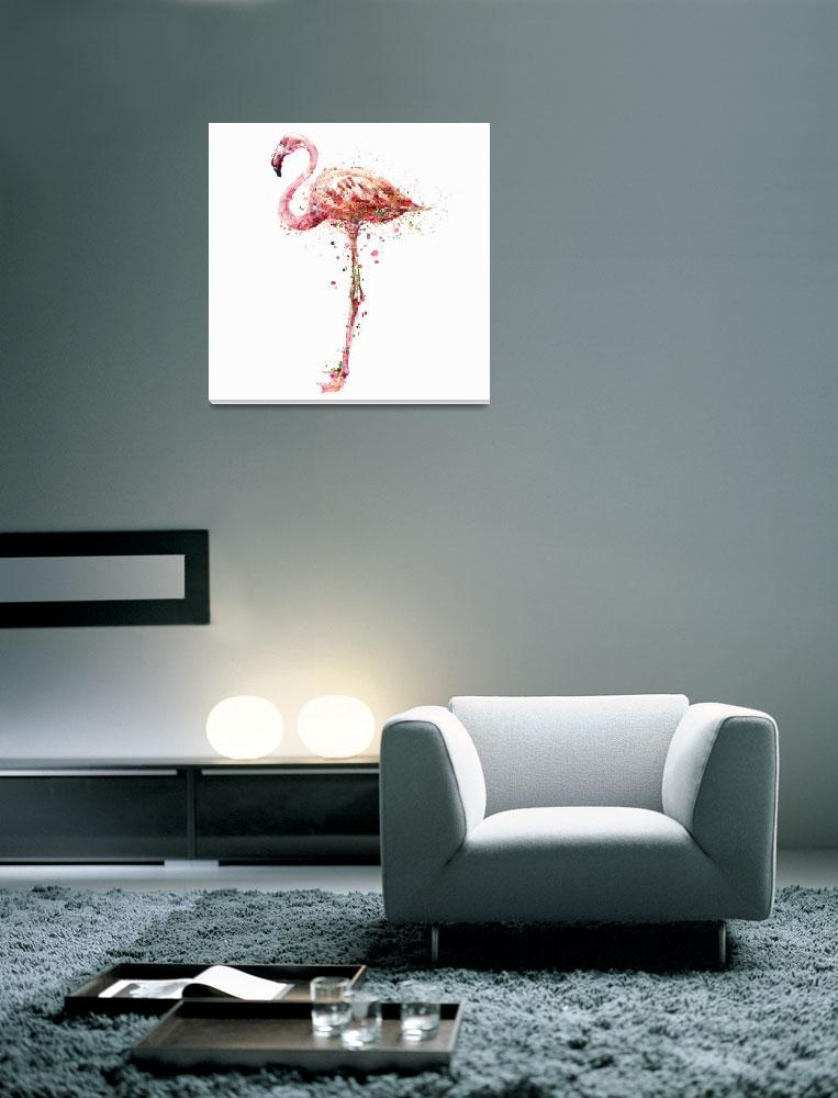"""Flamingo Watercolor Painting""  (2015) by MarianVoicu"