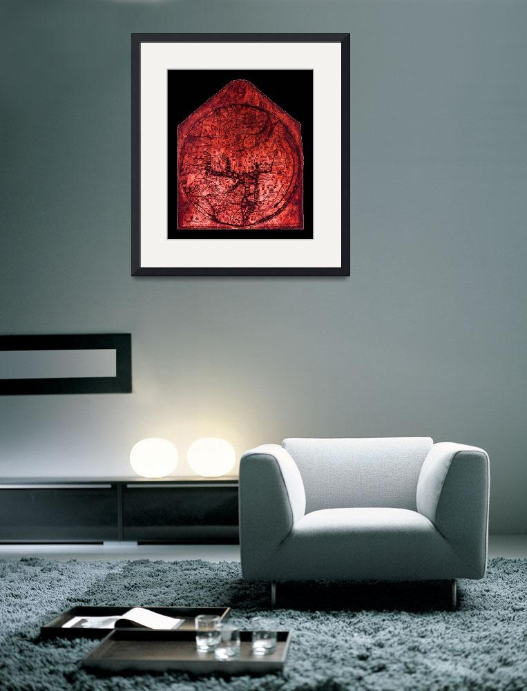 """Hereford Mappa Mundi Red Tint Small Black Border""  (2014) by TheNorthernTerritory"