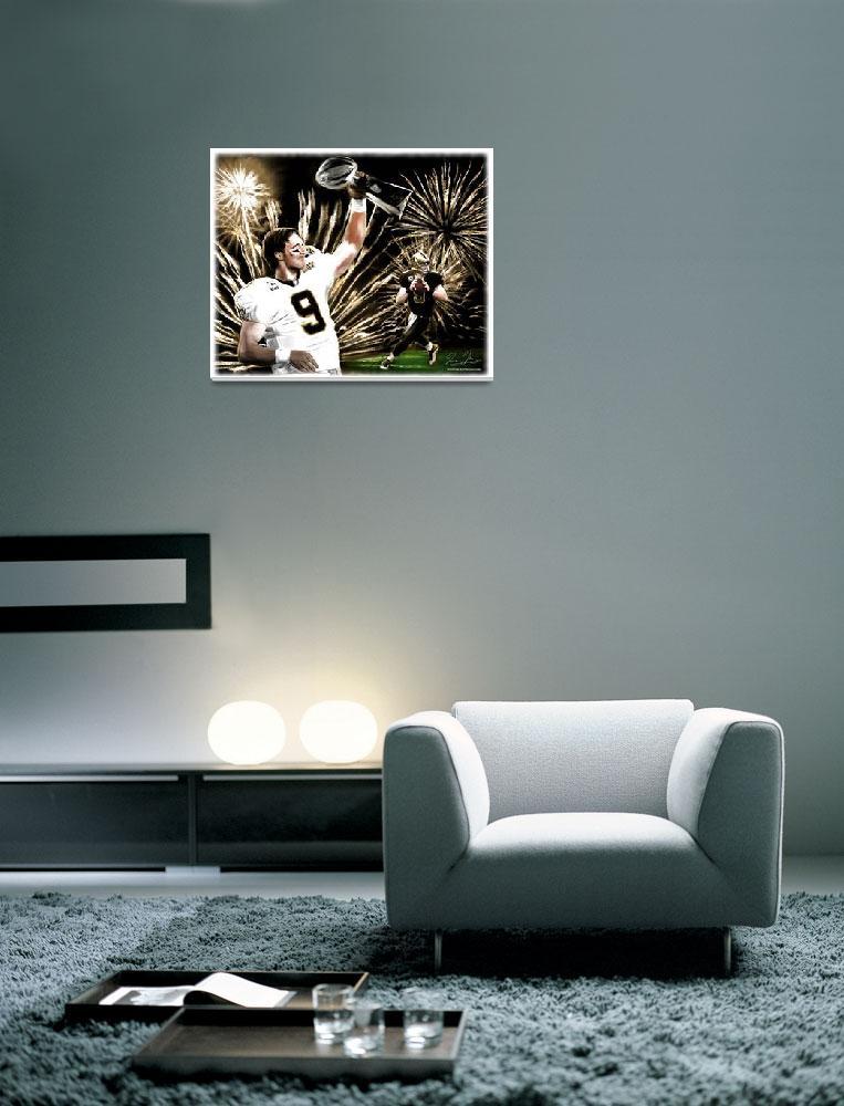 """NFL New Orleans Saints Drew Brees Super Bowl MVP""  (2010) by artofvela"