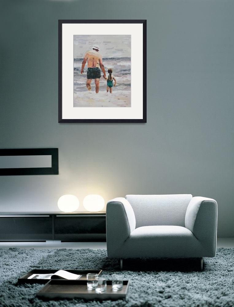 """""""Grandpa and Granddaughter (Sarah) at the Beach&quot  (2012) by PjCreates"""