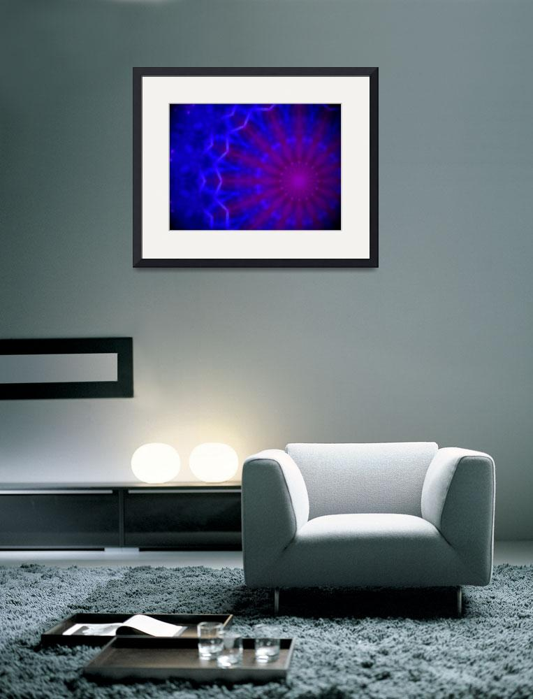"""Geometric blue and purple radial pattern&quot  (2014) by jntvisual"