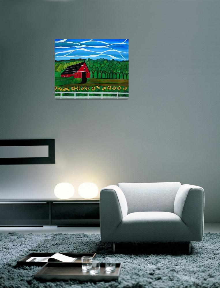 """Red Barn acrylic painting, ""Remembering home""&quot  (2014) by Rachelolynukart"