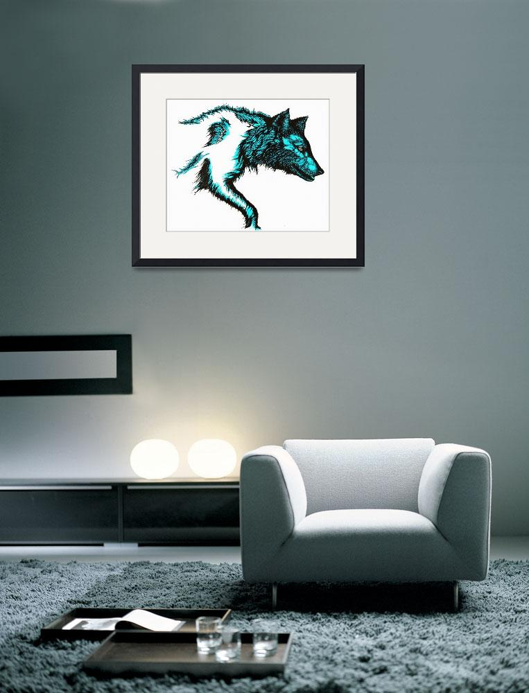 """Wolf Stalking-Blue""  (1990) by OgleWarfield"