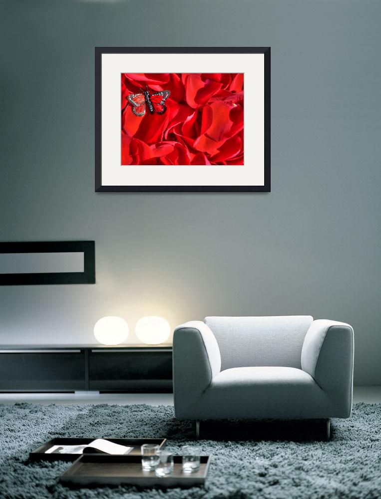 """Red rose petals and butterfly&quot  (2010) by annav"