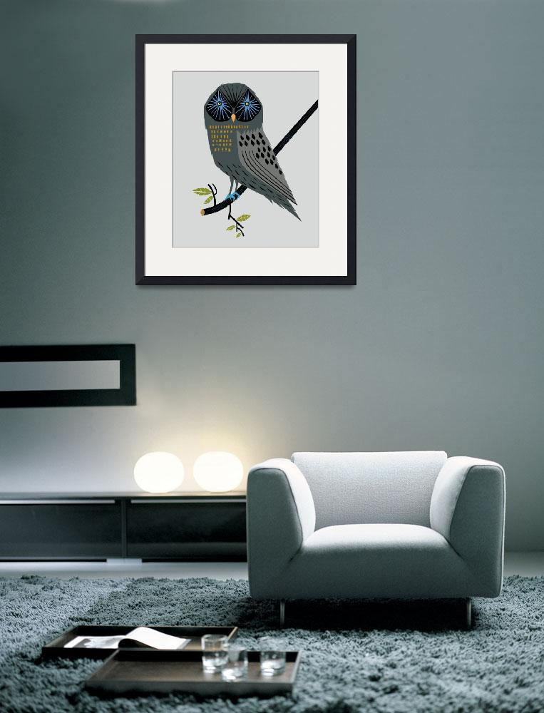 """""""The Perching Owl - Limited Edition Print&quot  (2010) by iotaillustration"""