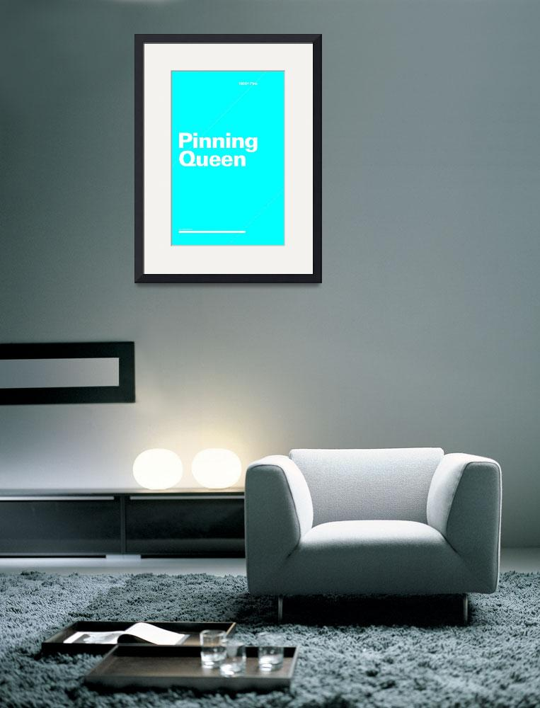 """Pinning Queen typographic poster - Blue and White&quot  (2012) by kken"