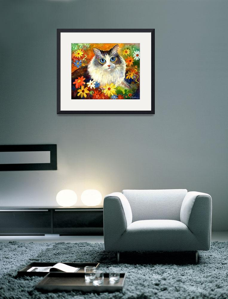 """""""Cute Tubby cat in flowers painting&quot  by SvetlanaNovikova"""