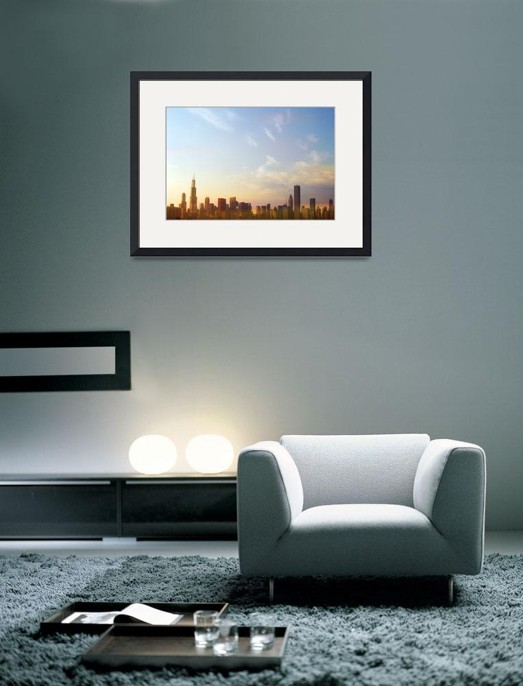 """Chicago skyline at sunset""  by Mazzocco"