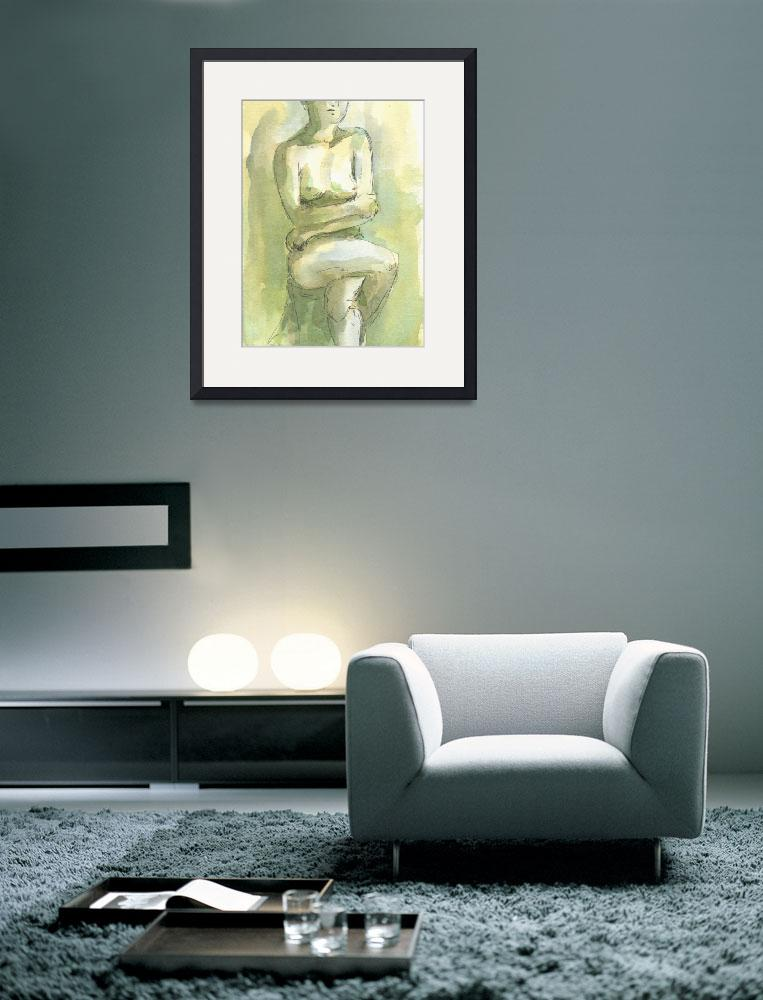"""""""Yellow Green Female Nude Figure Study&quot  (2008) by tolunart"""