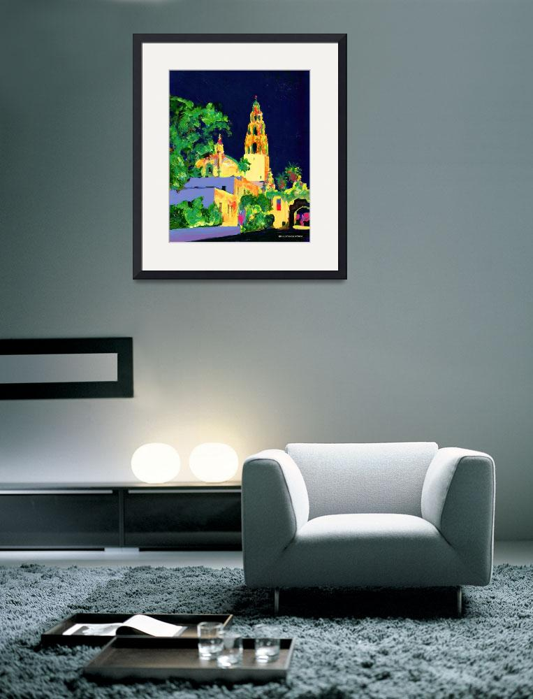 """Balboa Park at Night - San Diego Art - California&quot  (2006) by RDRiccoboni"