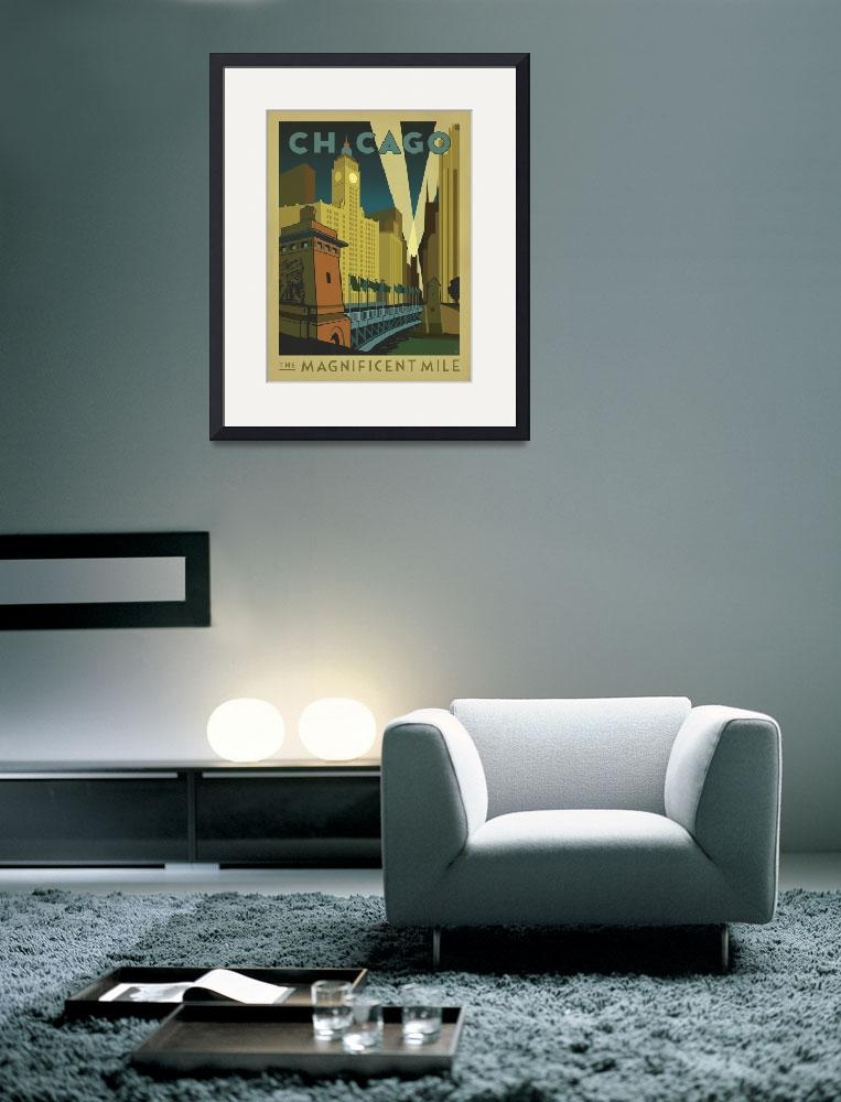 """""""Chicago, Illinois: The Magnificent Mile - Retro Tr&quot  by artlicensing"""