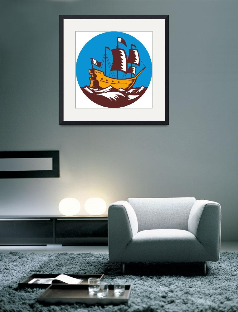 """Galleon tall ship sailing retro woodcut&quot  (2013) by patrimonio"