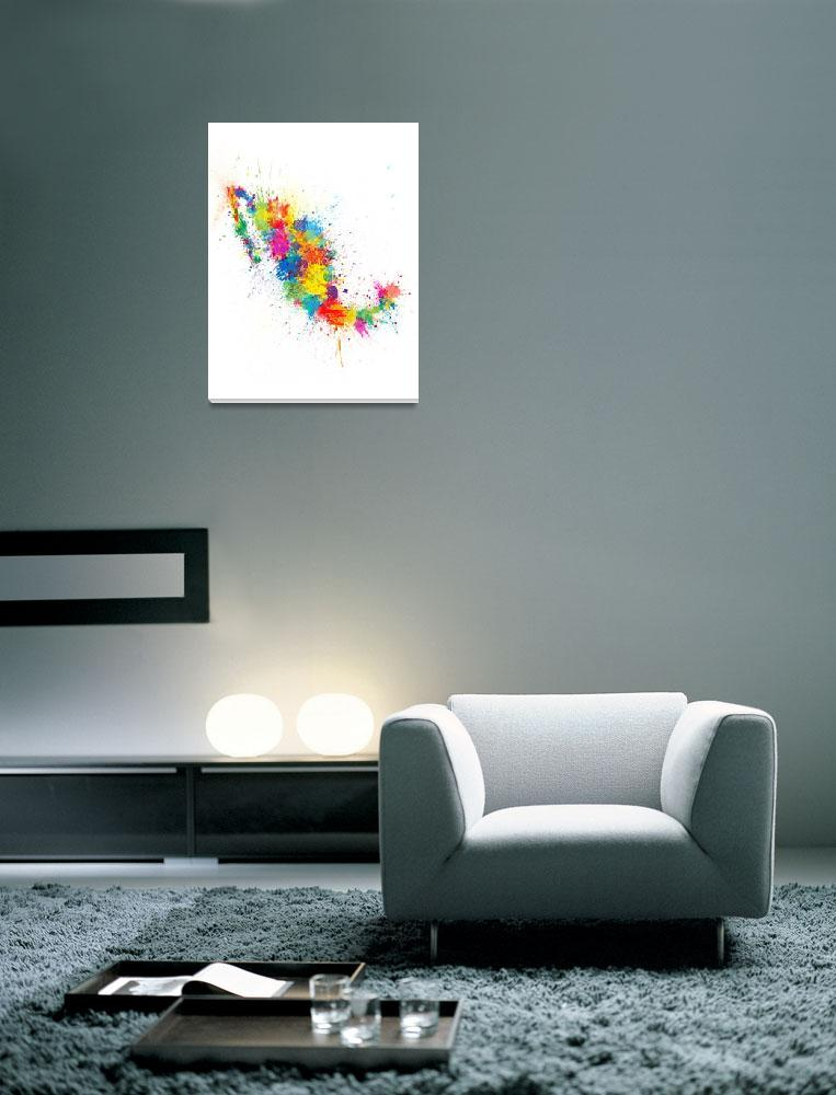 """""""Mexico Paint Splashes Map""""  (2018) by ModernArtPrints"""