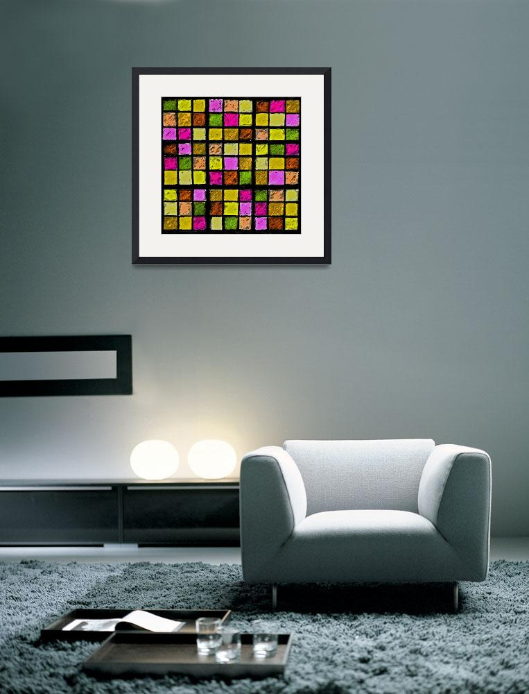"""""""Sudoku Abstract Yellow Green Red&quot  (2012) by KsWorldArt"""