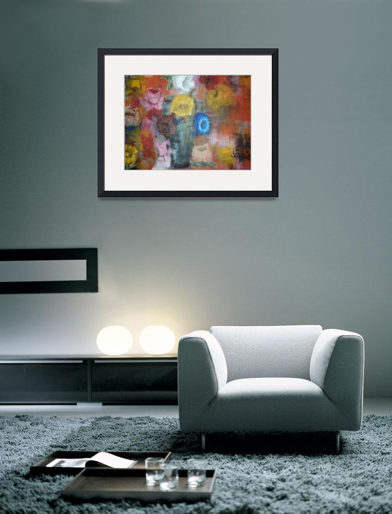 """""""colorful flowers in a vase&quot  (2010) by jamesritmanartworks"""