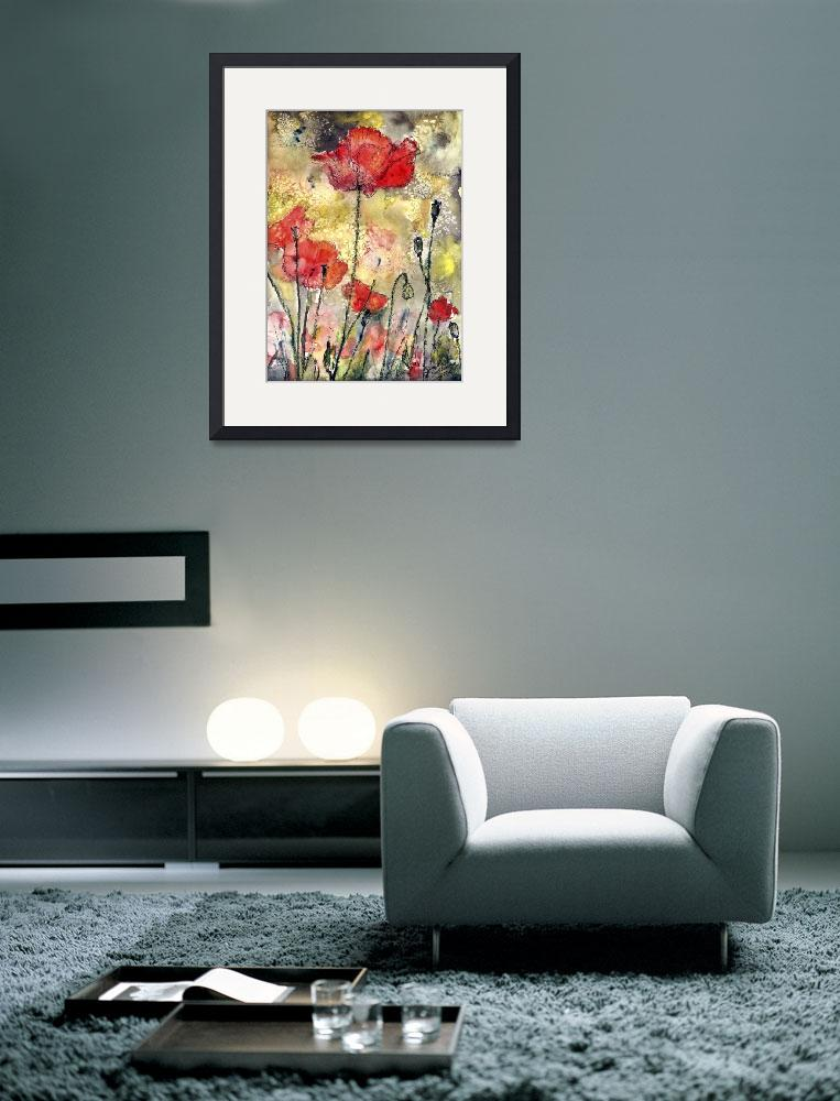 """Red Poppies Botanical Watercolor and Ink Floral&quot  (2002) by GinetteCallaway"