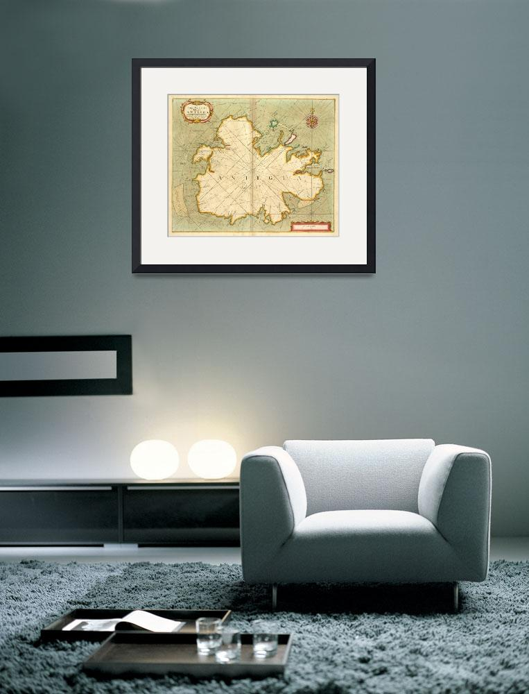"""Vintage Map of Antigua (1702)&quot  by Alleycatshirts"