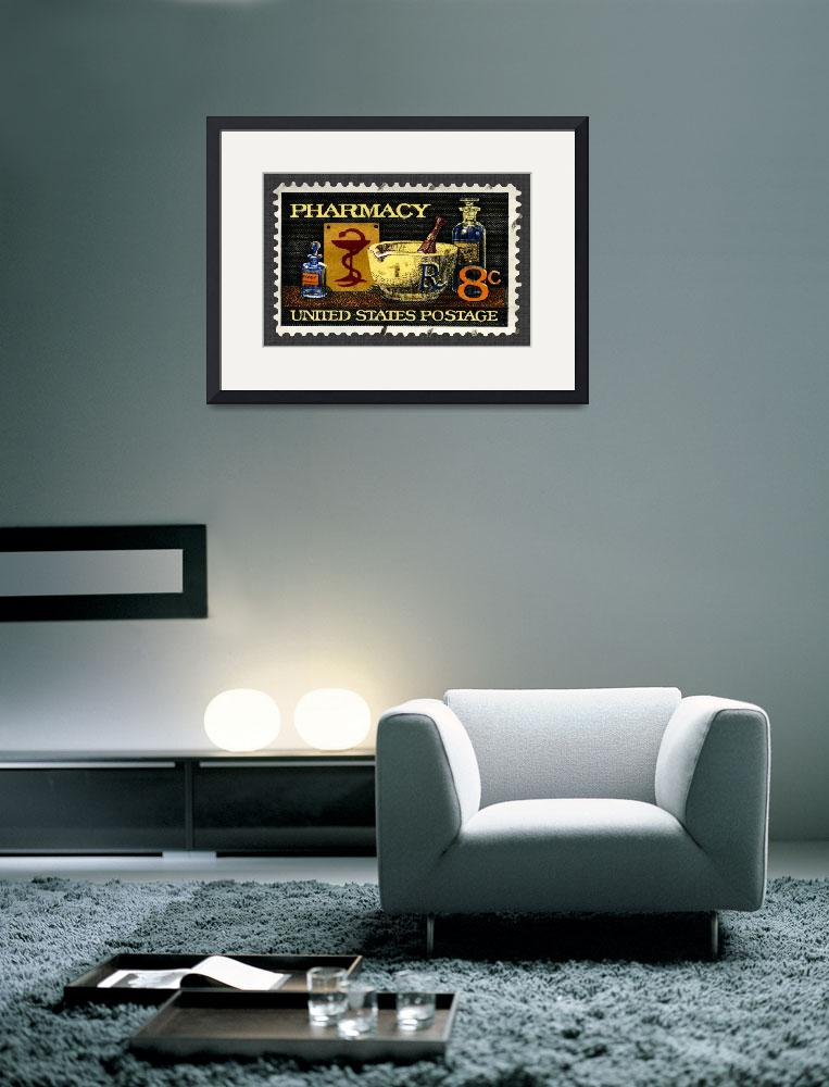 """Pharmacy Stamp with Bowl of Hygeia&quot  (2008) by WilshireImages"