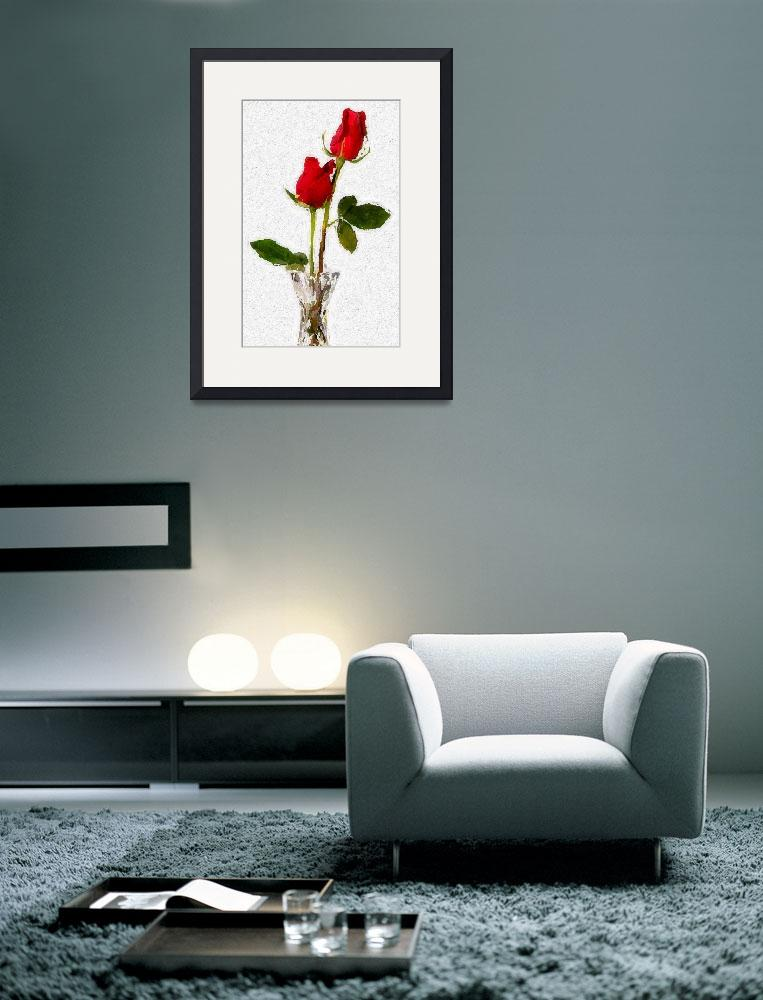 """""""2 red roses in vase_edited&quot  by lizmix"""
