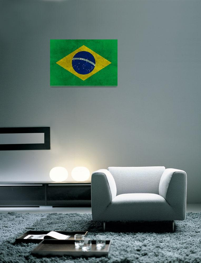 """Grunge Brazilian Flag&quot  (2013) by Almdrs"