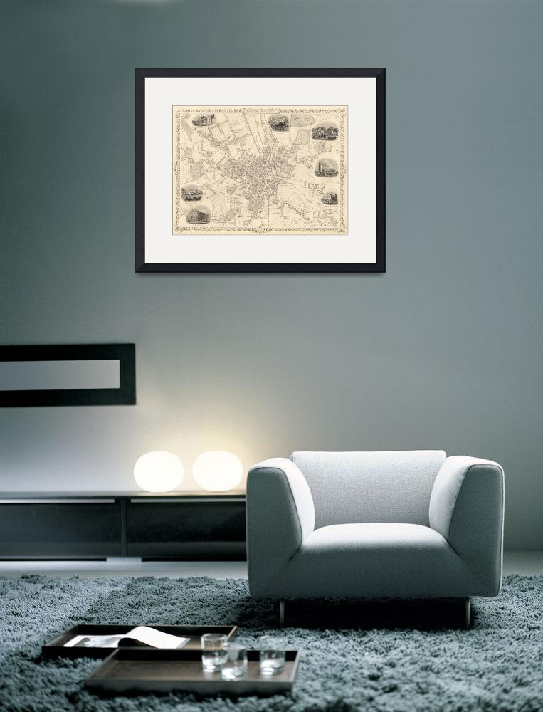 """""""Vintage Map of Bradford England (1851)&quot  by Alleycatshirts"""